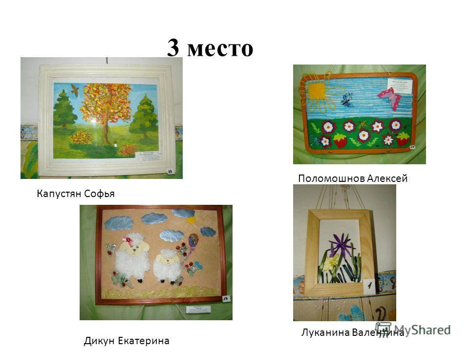 3 место Поломошнов Алексей Дикун Екатерина Луканина Валентина Капустян Софья