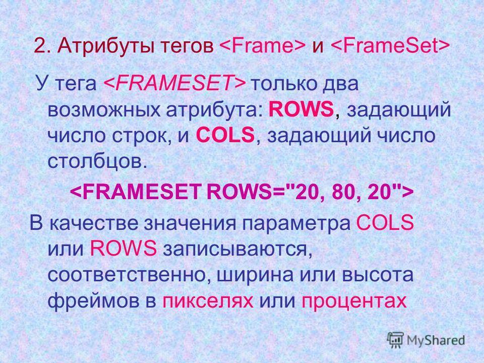 2. Атрибуты тегов и У тега только два возможных атрибута: ROWS, задающий число строк, и СОLS, задающий число столбцов. В качестве значения параметра COLS или ROWS записываются, соответственно, ширина или высота фреймов в пикселях или процентах