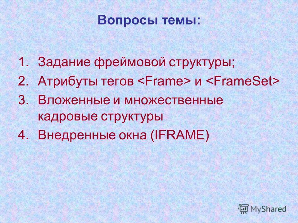 1.Задание фреймовой структуры; 2.Атрибуты тегов и 3.Вложенные и множественные кадровые структуры 4.Внедренные окна (IFRAME) Вопросы темы: