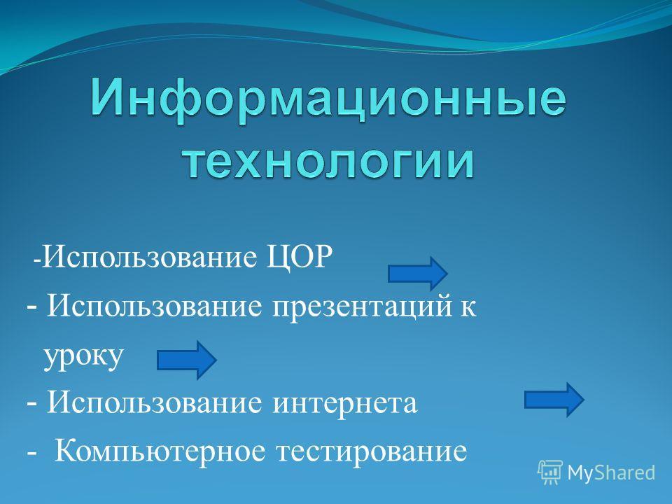 - Использование ЦОР - Использование презентаций к уроку - Использование интернета - Компьютерное тестирование