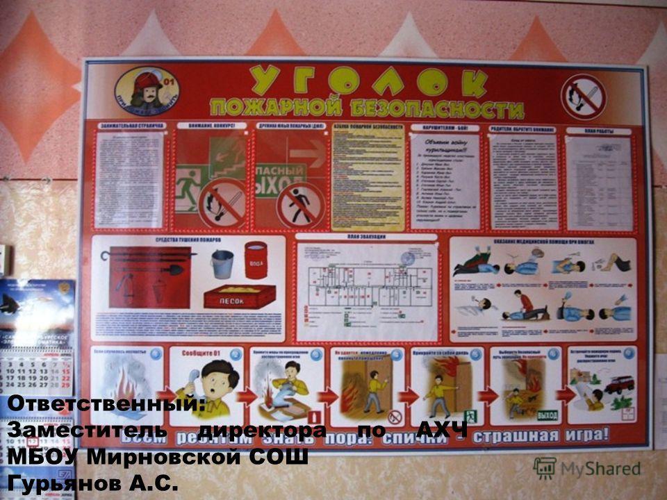 Ответственный: Заместитель директора по АХЧ МБОУ Мирновской СОШ Гурьянов А.С. телефон: 88423148190