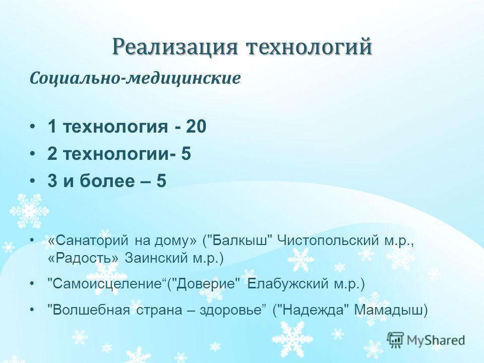 Реализация технологий Социально-медицинские 1 технология - 20 2 технологии- 5 3 и более – 5 «Санаторий на дому» (