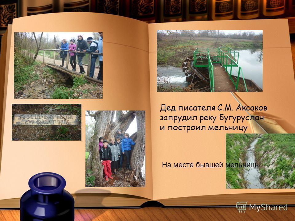 Дед писателя С.М. Аксаков запрудил реку Бугуруслан и построил мельницу На месте бывшей мельницы
