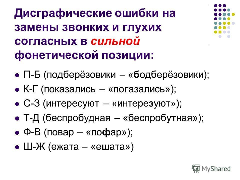 Дисграфические ошибки на замены звонких и глухих согласных в сильной фонетической позиции: П-Б (подберёзовики – «бодберёзовики); К-Г (показались – «погазались»); С-З (интересуют – «интерезуют»); Т-Д (беспробудная – «беспробутная»); Ф-В (повар – «пофа