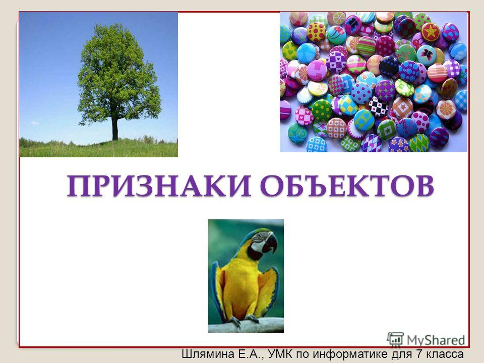 Шлямина Е.А., УМК по информатике для 7 класса ПРИЗНАКИ ОБЪЕКТОВ ПРИЗНАКИ ОБЪЕКТОВ