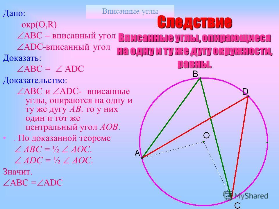 Вписанные углы Теорема о вписанном угле III Дано: окр(O,R) АВС – вписанный угол АOС-центральный Т.О вне АBСАBС Доказать: АВС = ½ АOСАOС Доказательство: 1.Проведем диаметр ВD 2.Рассмотрим углы АВD и DBC. 3.По доказанному (I)(I) DBC= ½ DOC. ABD= ½ AOD,