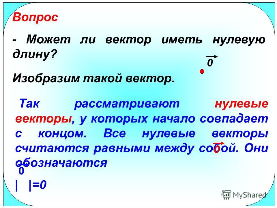 Так рассматривают нулевые векторы, у которых начало совпадает с концом. Все нулевые векторы считаются равными между собой. Они обозначаются | |=0 Вопрос - Может ли вектор иметь нулевую длину? Изобразим такой вектор. 0 0 0