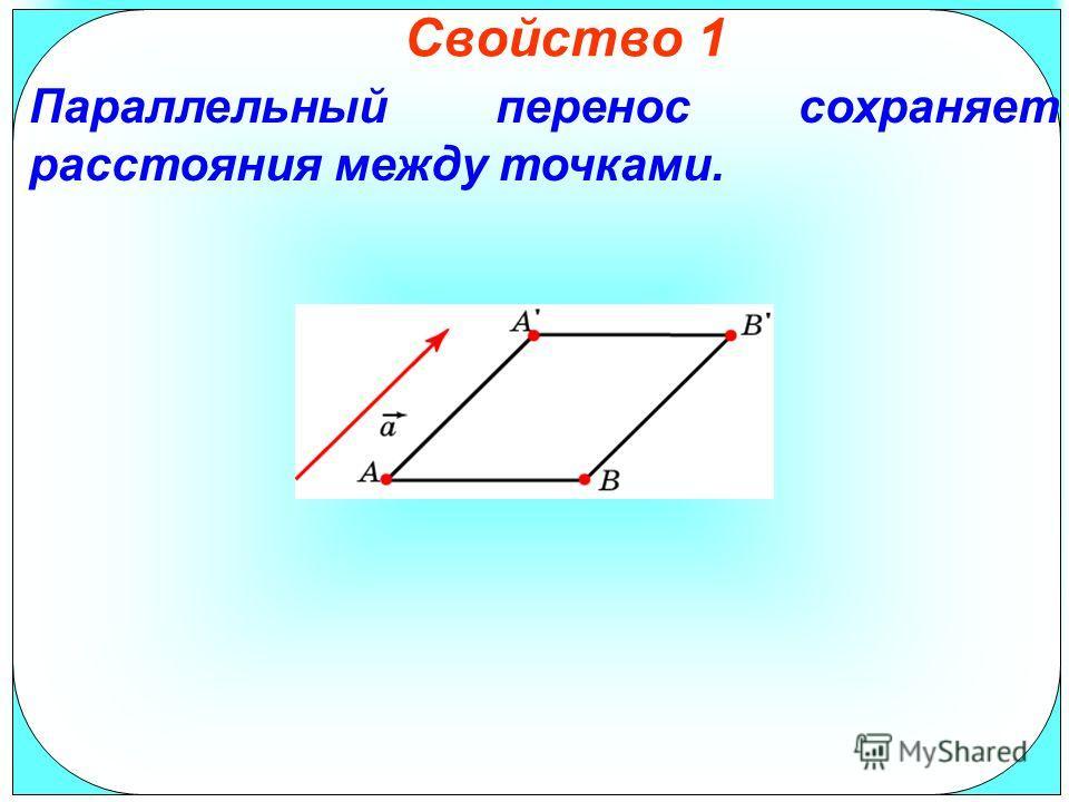 Свойство 1 Параллельный перенос сохраняет расстояния между точками.