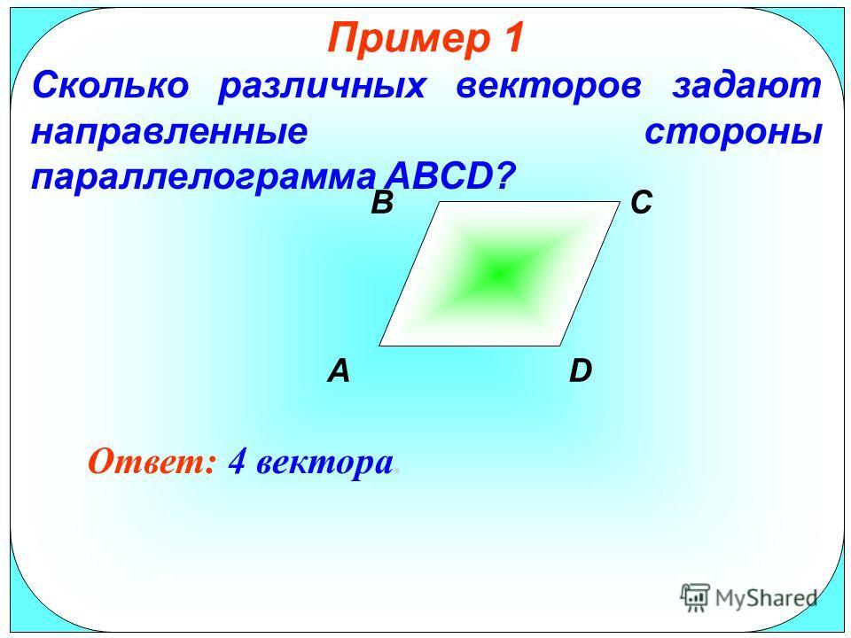Пример 1 Сколько различных векторов задают направленные стороны параллелограмма АВСD? Ответ: 4 вектора. B AD C