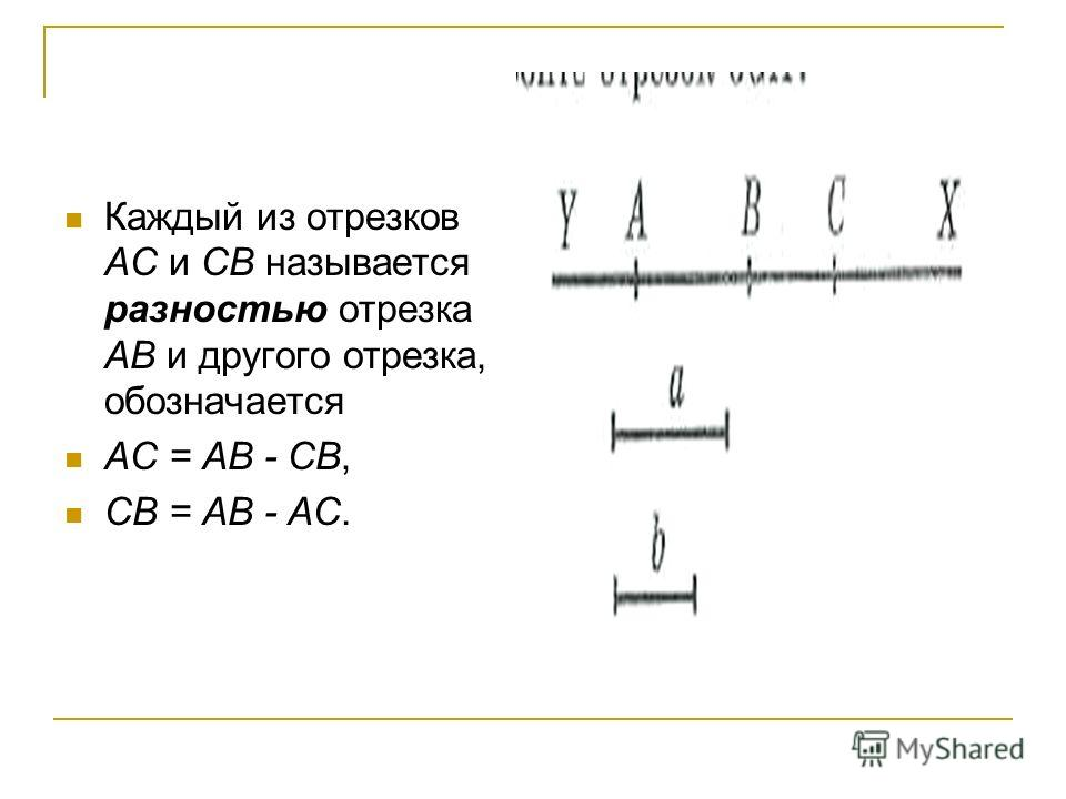 Каждый из отрезков АС и СВ называется разностью отрезка АВ и другого отрезка, обозначается АС = АВ - СВ, СВ = АВ - АС.