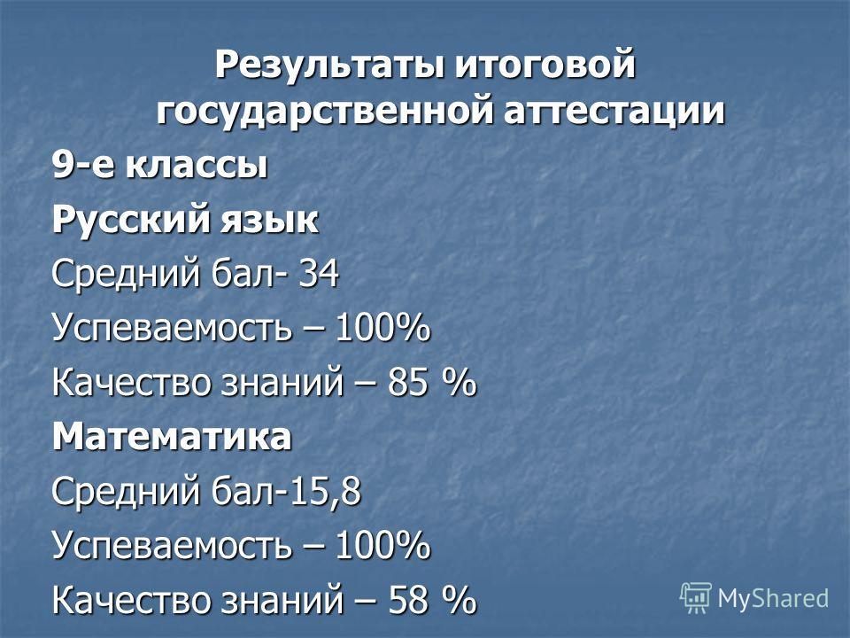 Результаты итоговой государственной аттестации 9-е классы Русский язык Средний бал- 34 Успеваемость – 100% Качество знаний – 85 % Математика Средний бал-15,8 Успеваемость – 100% Качество знаний – 58 %