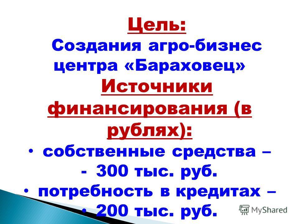 Цель: Создания агро-бизнес центра «Бараховец» Источники финансирования (в рублях): собственные средства – -300 тыс. руб. потребность в кредитах – 200 тыс. руб.