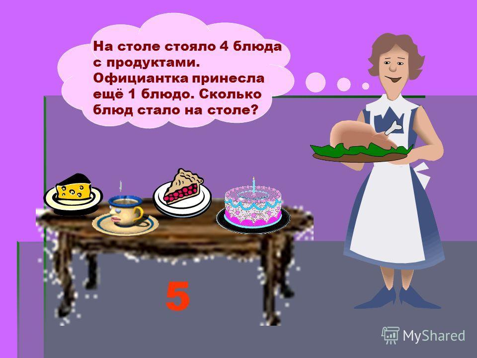 На столе стояло 4 блюда с продуктами. Официантка принесла ещё 1 блюдо. Сколько блюд стало на столе? 5