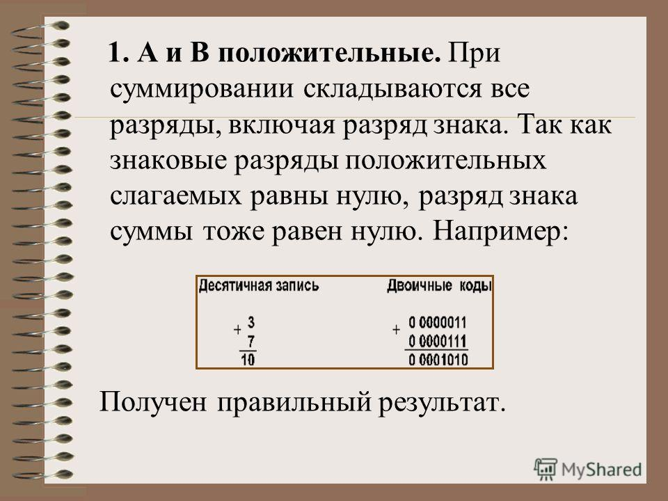 1. А и В положительные. При суммировании складываются все разряды, включая разряд знака. Так как знаковые разряды положительных слагаемых равны нулю, разряд знака суммы тоже равен нулю. Например: Получен правильный результат.