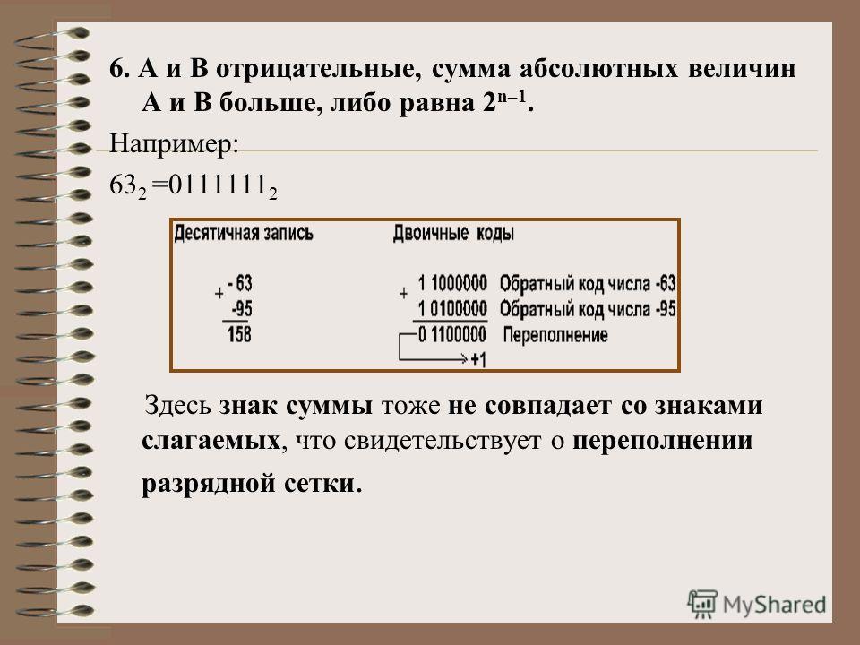 6. А и В отрицательные, сумма абсолютных величин А и В больше, либо равна 2 n–1. Например: 63 2 =0111111 2 Здесь знак суммы тоже не совпадает со знаками слагаемых, что свидетельствует о переполнении разрядной сетки.