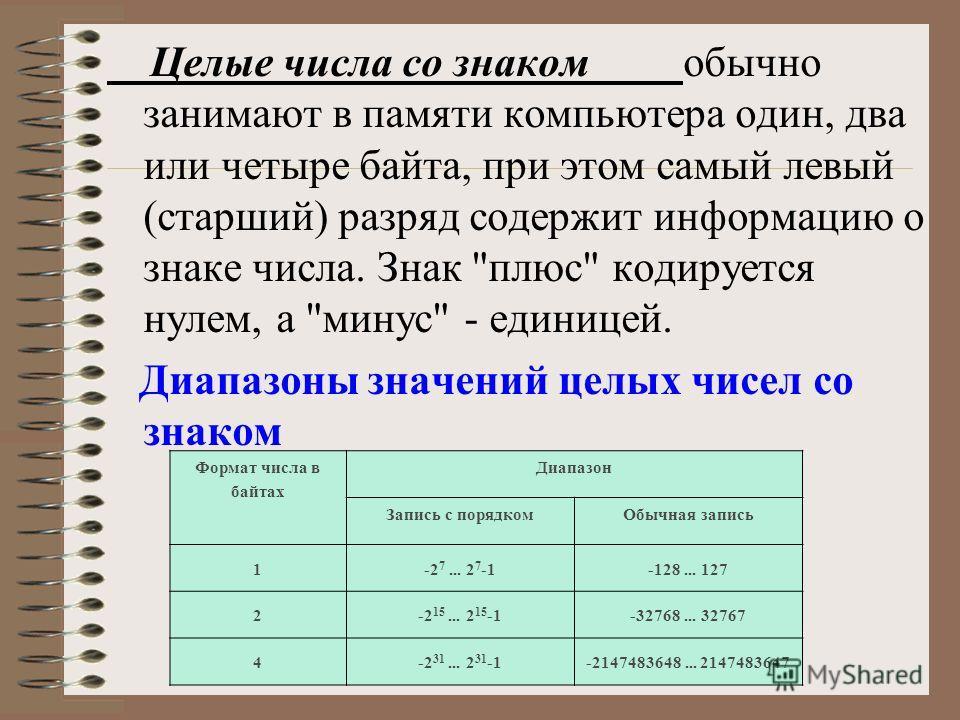 Целые числа со знаком обычно занимают в памяти компьютера один, два или четыре байта, при этом самый левый (старший) разряд содержит информацию о знаке числа. Знак