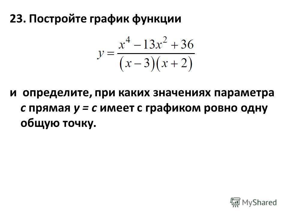 23. Постройте график функции и определите, при каких значениях параметра с прямая y = c имеет с графиком ровно одну общую точку.