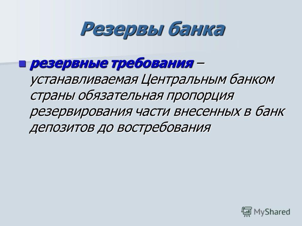 Резервы банка резервные требования – устанавливаемая Центральным банком страны обязательная пропорция резервирования части внесенных в банк депозитов до востребования резервные требования – устанавливаемая Центральным банком страны обязательная пропо