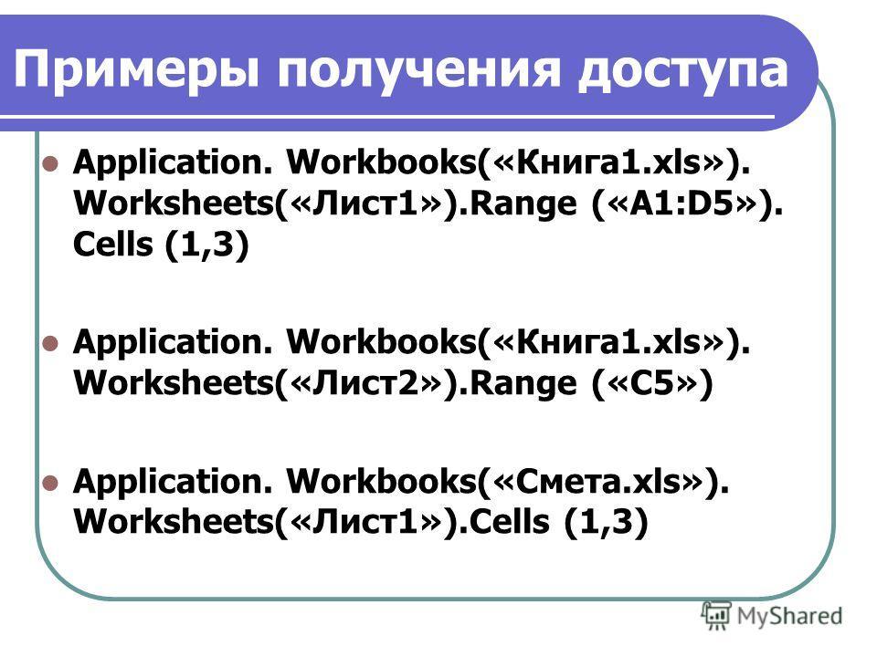 Примеры получения доступа Application. Workbooks(«Книга1.xls»). Worksheets(«Лист1»).Range («A1:D5»). Сеlls (1,3) Application. Workbooks(«Книга1.xls»). Worksheets(«Лист2»).Range («С5») Application. Workbooks(«Смета.xls»). Worksheets(«Лист1»).Сеlls (1,