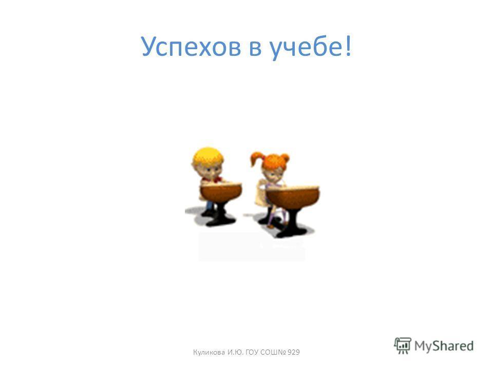Успехов в учебе! Куликова И.Ю. ГОУ СОШ 929