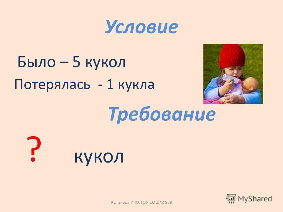 Условие Было – 5 кукол Потерялась - 1 кукла Требование ? кукол Куликова И.Ю. ГОУ СОШ 929