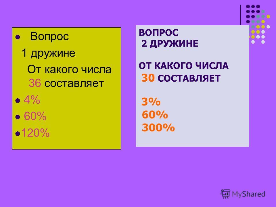 Вопрос 1 дружине От какого числа 36 составляет 4% 60% 120% ВОПРОС 2 ДРУЖИНЕ ОТ КАКОГО ЧИСЛА 30 СОСТАВЛЯЕТ 3% 60% 300%