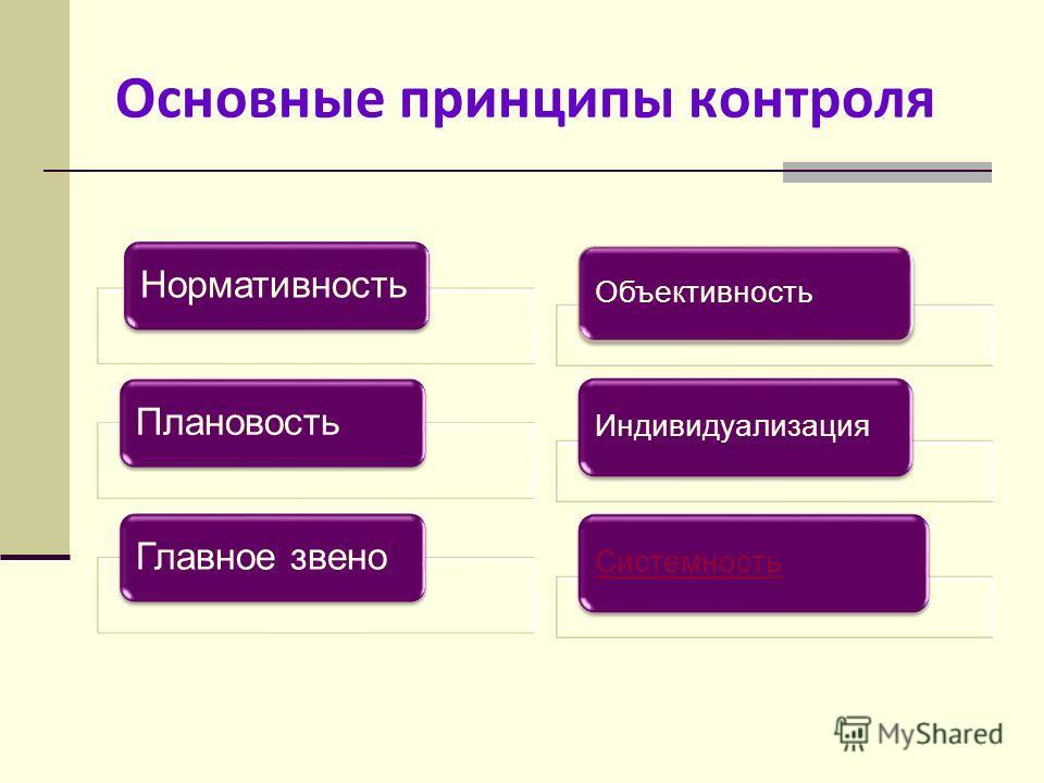 Основные принципы контроля НормативностьПлановостьГлавное звено Объективность ИндивидуализацияСистемность