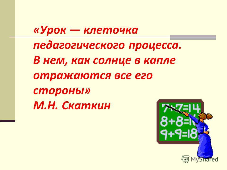 «Урок клеточка педагогического процесса. В нем, как солнце в капле отражаются все его стороны» М.Н. Скаткин