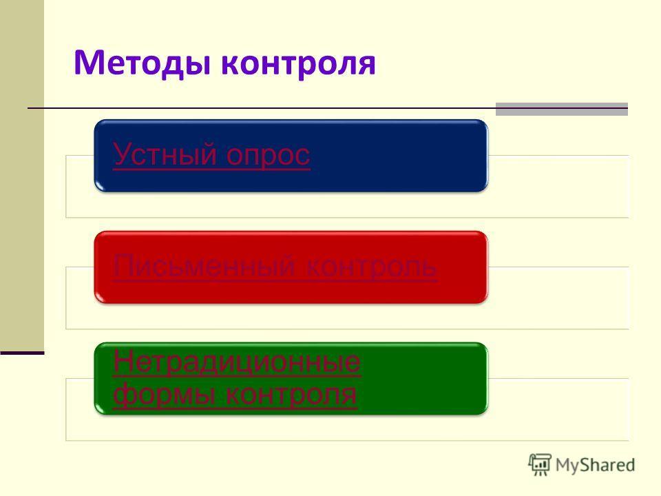 Методы контроля Устный опросПисьменный контроль Нетрадиционные формы контроля