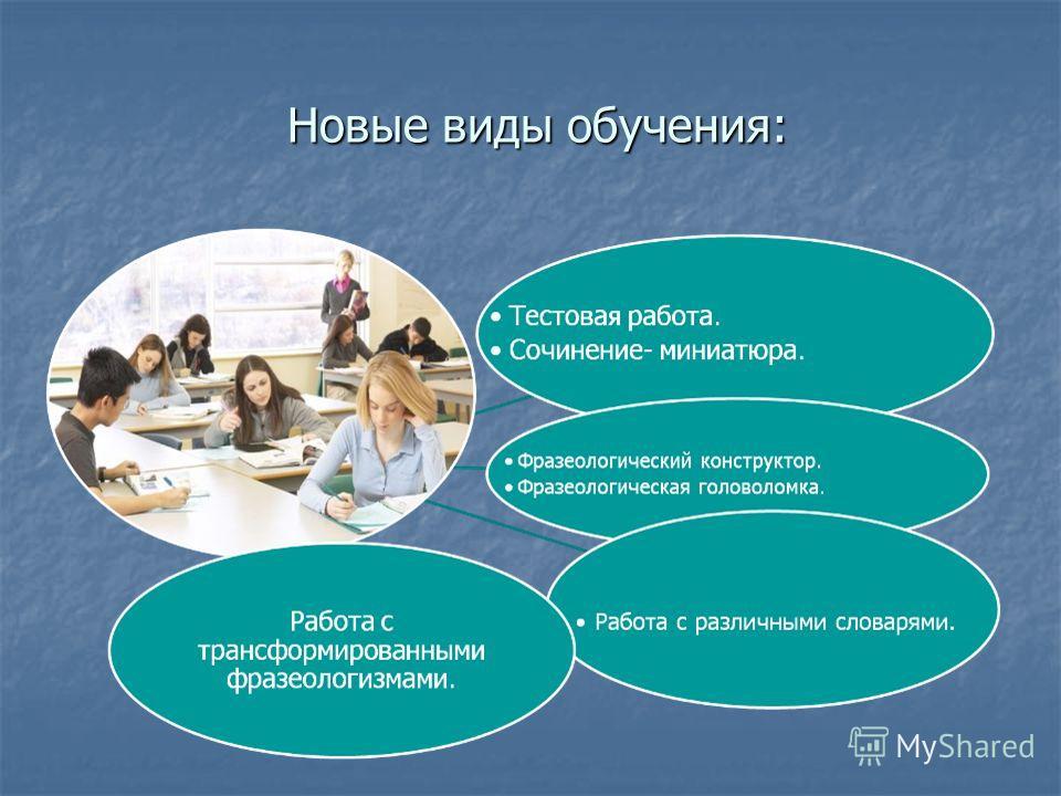 Новые виды обучения: Новые виды обучения: