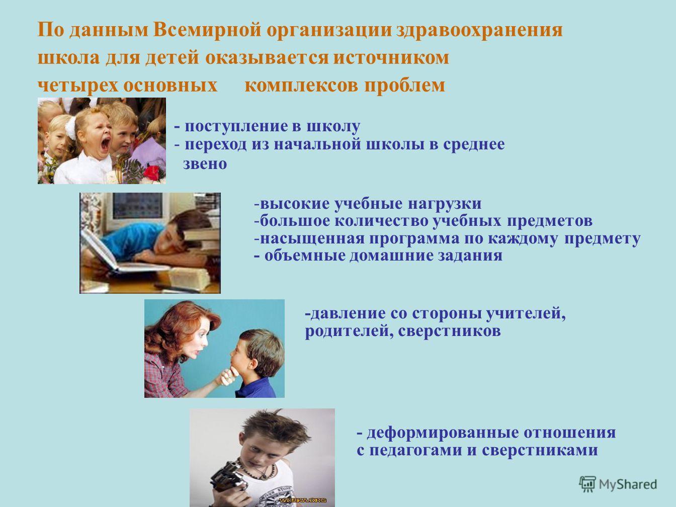 По данным Всемирной организации здравоохранения школа для детей оказывается источником четырех основных комплексов проблем -высокие учебные нагрузки -большое количество учебных предметов -насыщенная программа по каждому предмету - объемные домашние з