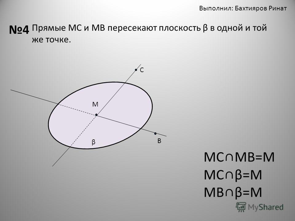 Выполнил: Бахтияров Ринат 4 Прямые МС и МВ пересекают плоскость β в одной и той же точке. β М С В МСМВ=М МСβ=М МВβ=М