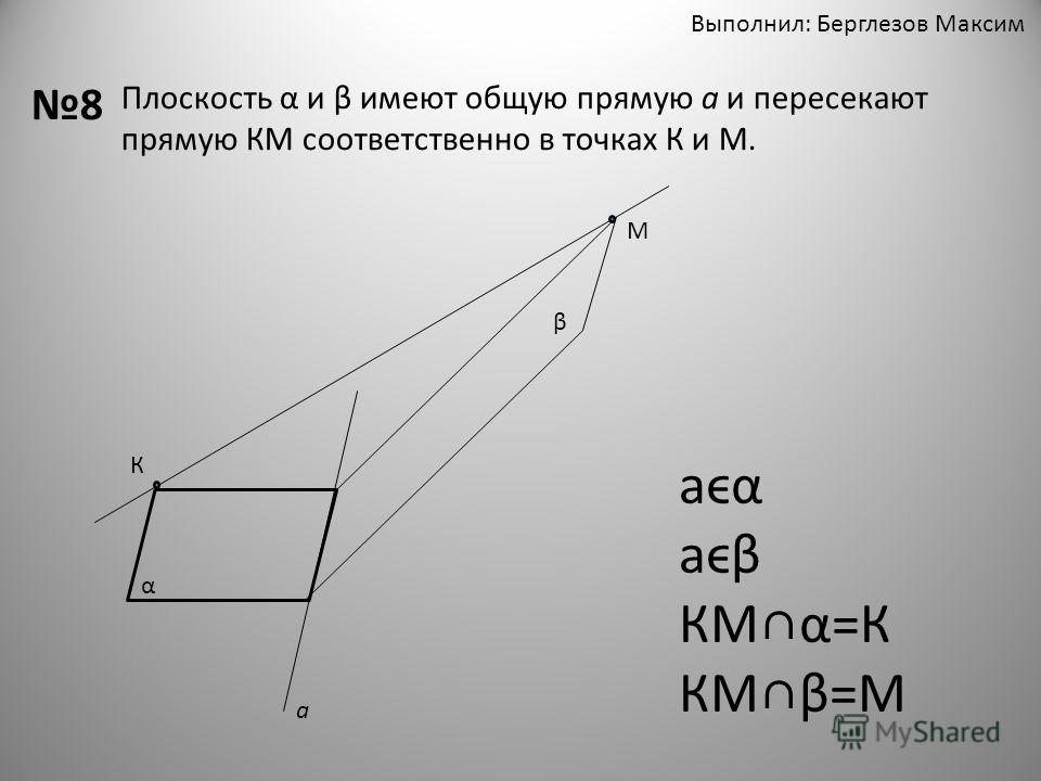 Выполнил: Берглезов Максим 8 Плоскость α и β имеют общую прямую а и пересекают прямую КМ соответственно в точках К и М. К М α β а аϵα аϵβ КМα=К КМβ=М