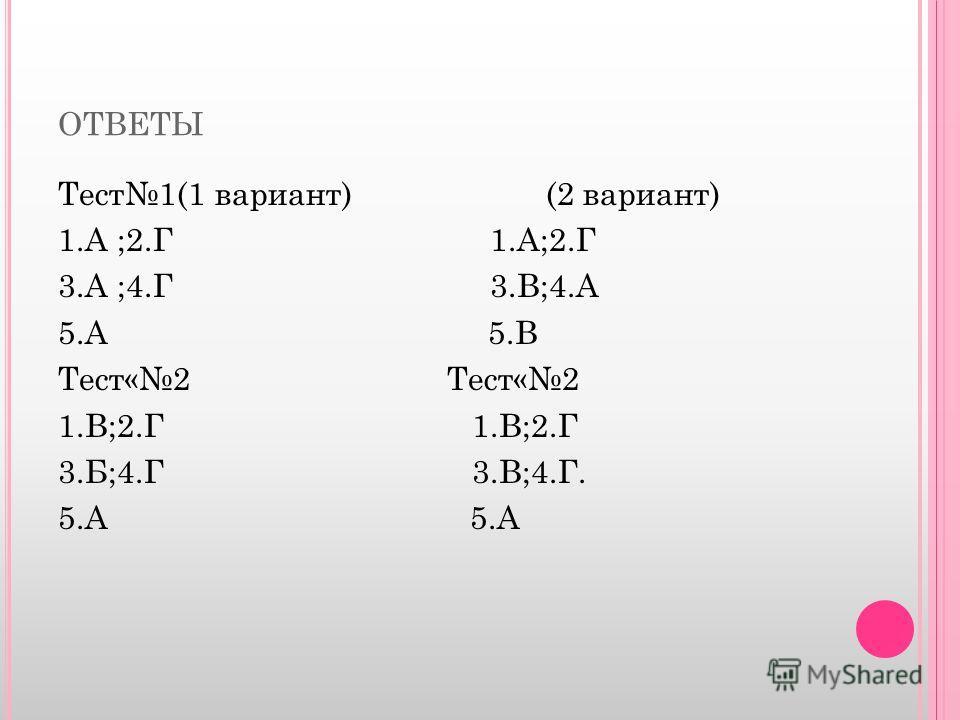 ОТВЕТЫ Тест1(1 вариант) (2 вариант) 1.А ;2.Г 1.А;2.Г 3.А ;4.Г 3.В;4.А 5.А 5.В Тест«2 1.В;2.Г 3.Б;4.Г 3.В;4.Г. 5.А