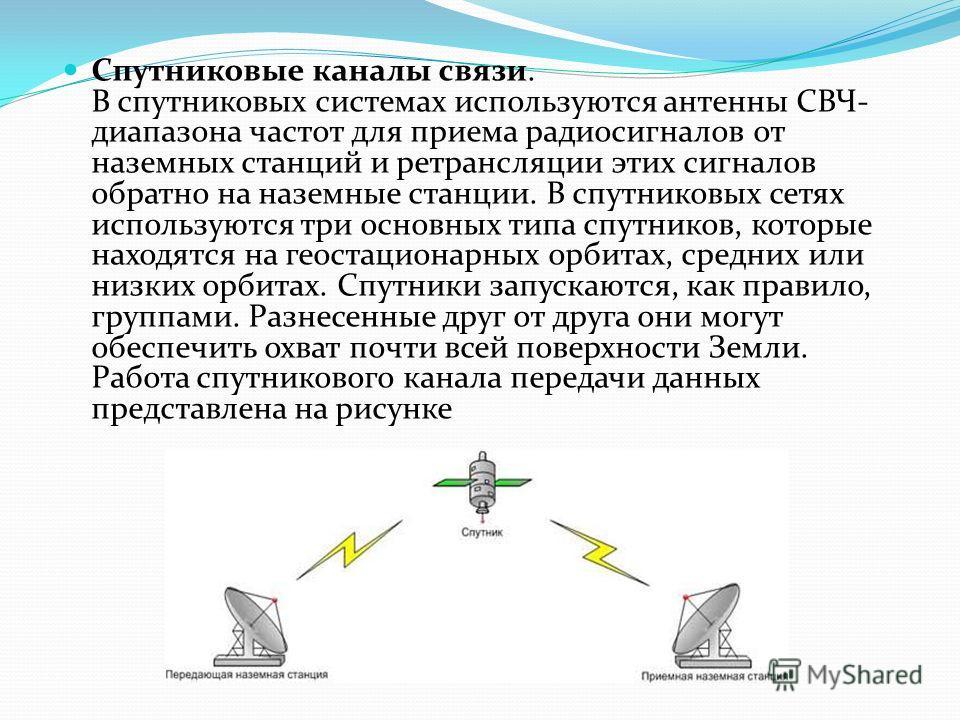 Радиорелейные каналы связи. Радиорелейные каналы связи состоят из последовательности станций, являющихся ретрансляторами. Связь осуществляется в пределах прямой видимости, дальности между соседними станциями - до 50 км. Цифровые радиорелейные линии с