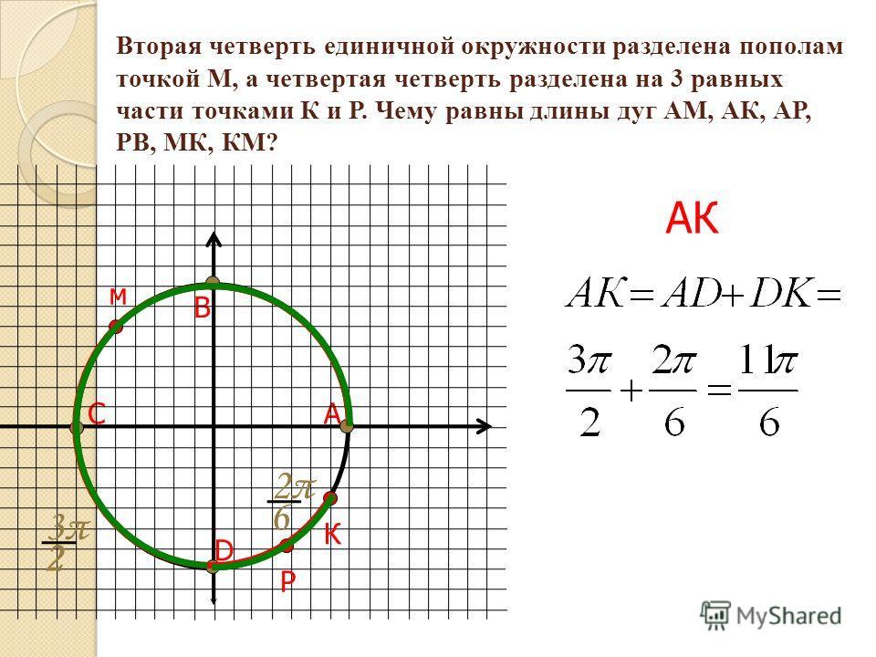 Вторая четверть единичной окружности разделена пополам точкой М, а четвертая четверть разделена на 3 равных части точками К и Р. Чему равны длины дуг АМ, АК, АР, РВ, МК, КМ? АС В D м РК 3π3π 2 2π2π 6 АК