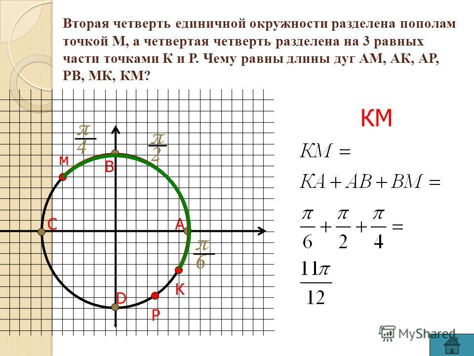 Вторая четверть единичной окружности разделена пополам точкой М, а четвертая четверть разделена на 3 равных части точками К и Р. Чему равны длины дуг АМ, АК, АР, РВ, МК, КМ? АС В D м РК π 6 π 2 КМ π 4