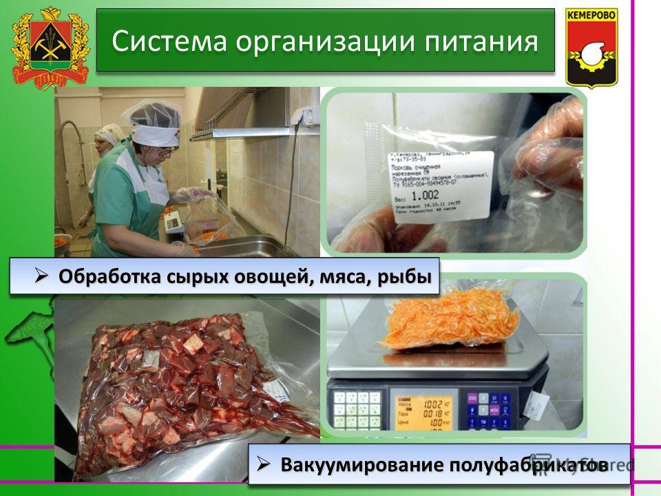 Вакуумирование полуфабрикатов Вакуумирование полуфабрикатов Обработка сырых овощей, мяса, рыбы Обработка сырых овощей, мяса, рыбы