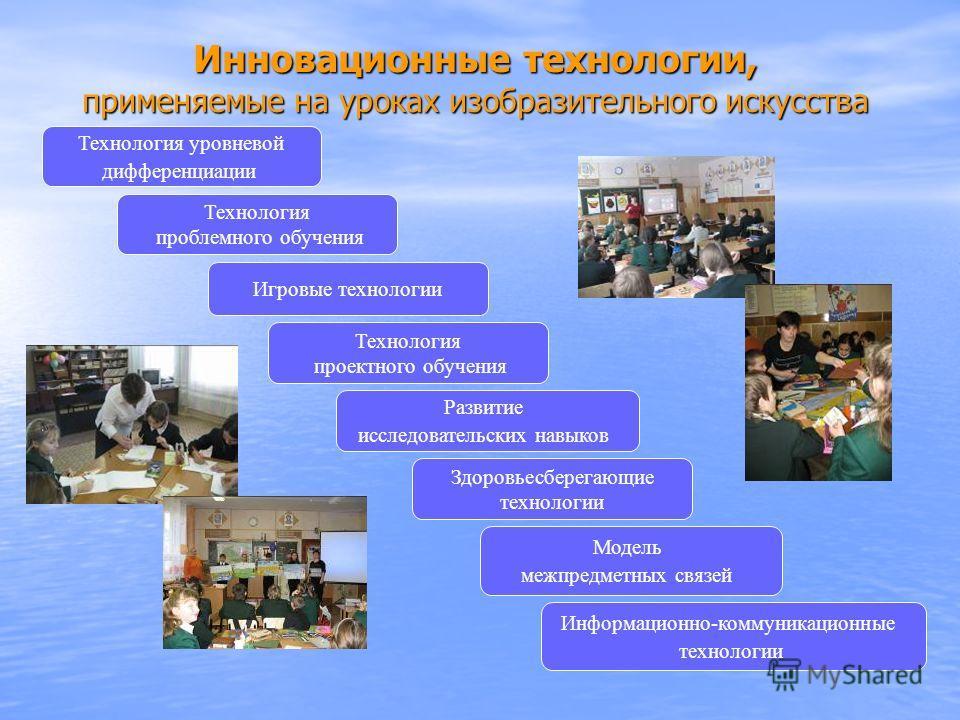 Инновационные технологии, применяемые на уроках изобразительного искусства Технология уровневой дифференциации Игровые технологии Модель межпредметных связей Технология проблемного обучения Технология проектного обучения Здоровьесберегающие технологи