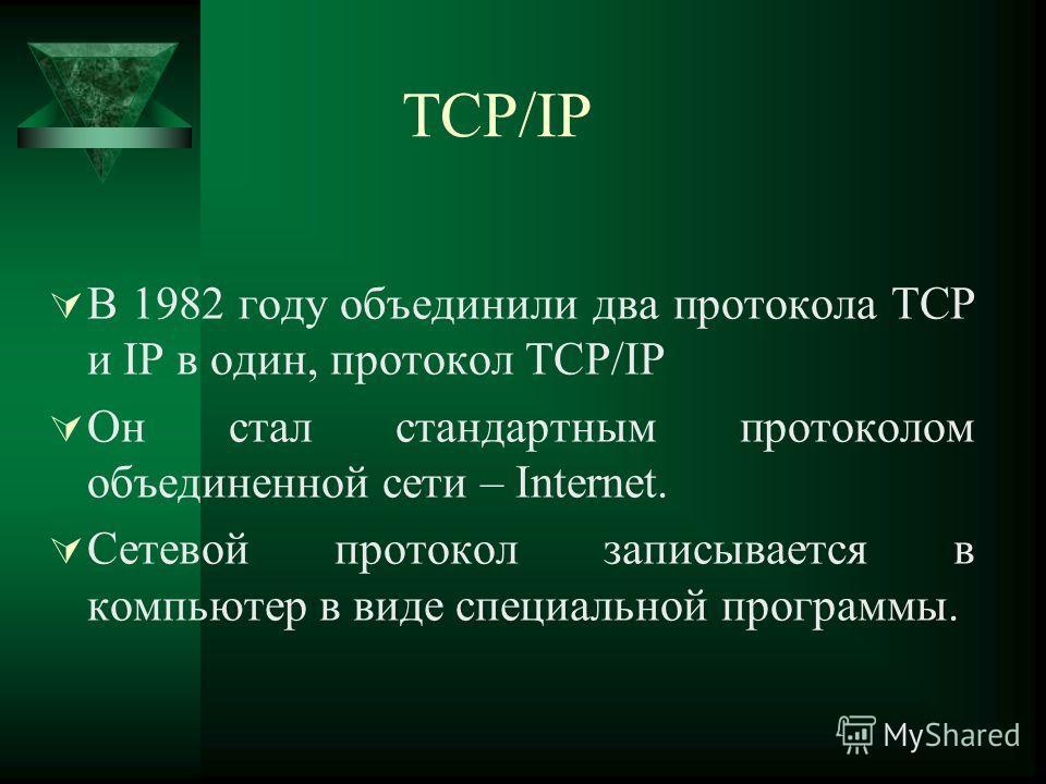 TCP/IP В 1982 году объединили два протокола TCP и IP в один, протокол TCP/IP Он стал стандартным протоколом объединенной сети – Internet. Сетевой протокол записывается в компьютер в виде специальной программы.