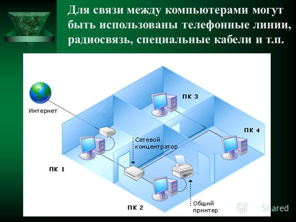 Для связи между компьютерами могут быть использованы телефонные линии, радиосвязь, специальные кабели и т.п.