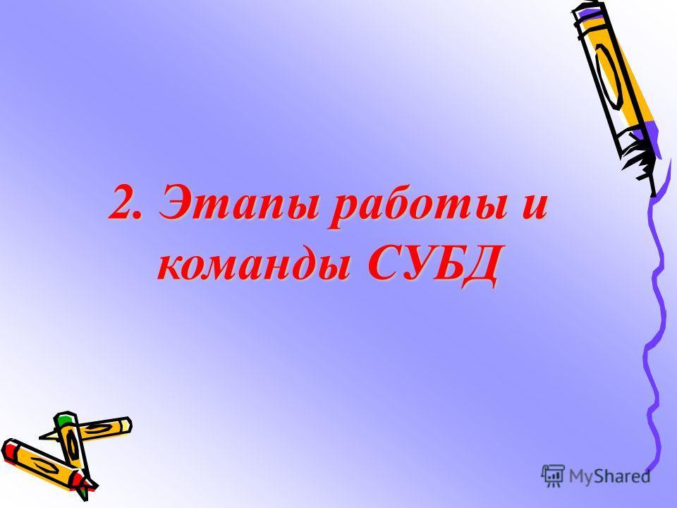 2. Этапы работы и команды СУБД