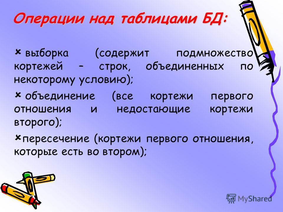 Операции над таблицами БД: выборка (содержит подмножество кортежей – строк, объединенных по некоторому условию); объединение (все кортежи первого отношения и недостающие кортежи второго); пересечение (кортежи первого отношения, которые есть во втором
