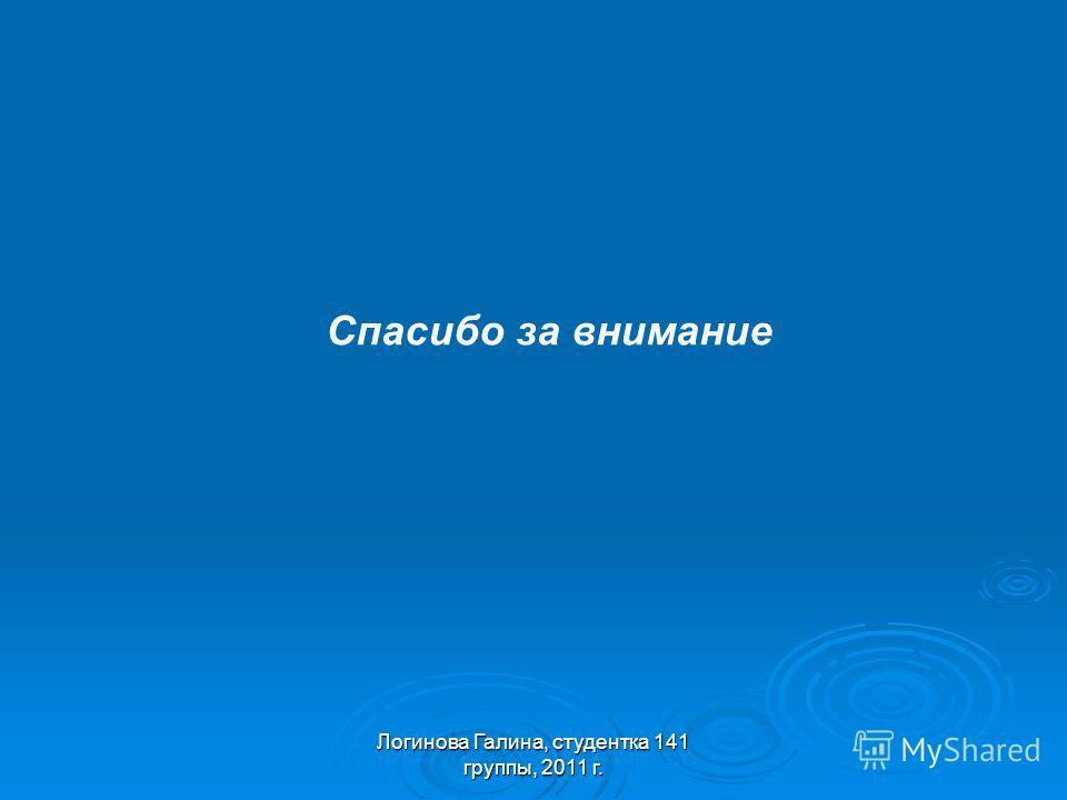 Спасибо за внимание Логинова Галина, студентка 141 группы, 2011 г.