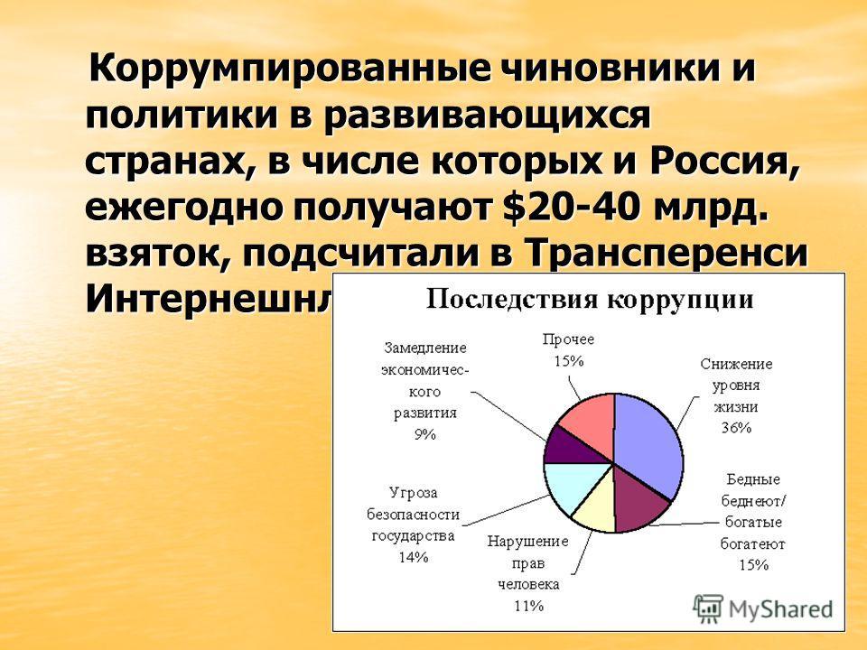 Коррумпированные чиновники и политики в развивающихся странах, в числе которых и Россия, ежегодно получают $20-40 млрд. взяток, подсчитали в Трансперенси Интернешнл. Коррумпированные чиновники и политики в развивающихся странах, в числе которых и Рос