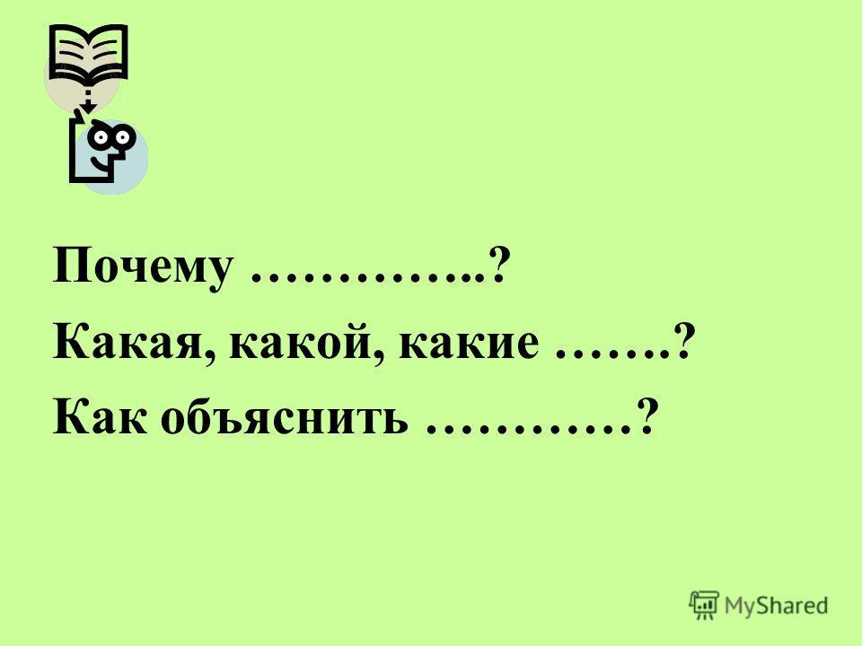 Почему …………..? Какая, какой, какие …….? Как объяснить …………?