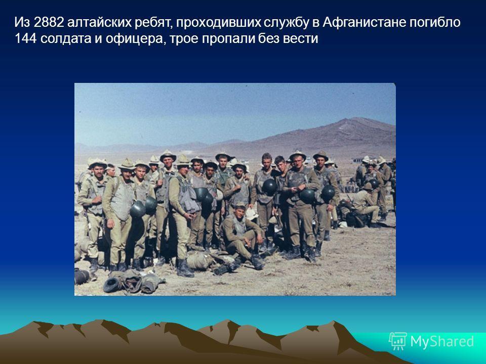 Из 2882 алтайских ребят, проходивших службу в Афганистане погибло 144 солдата и офицера, трое пропали без вести