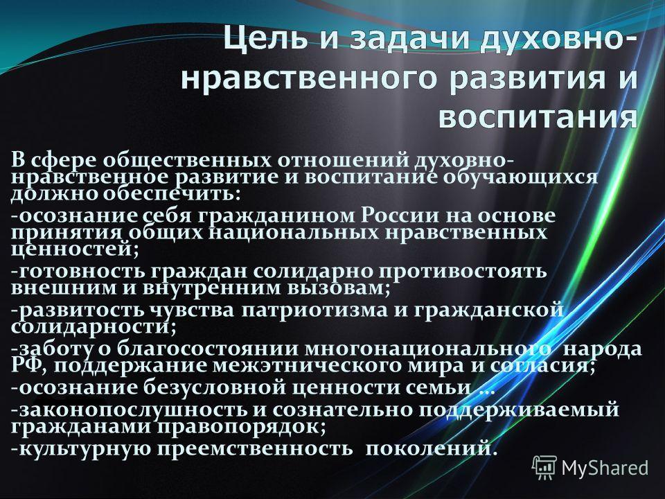 В сфере общественных отношений духовно- нравственное развитие и воспитание обучающихся должно обеспечить: -осознание себя гражданином России на основе принятия общих национальных нравственных ценностей; -готовность граждан солидарно противостоять вне