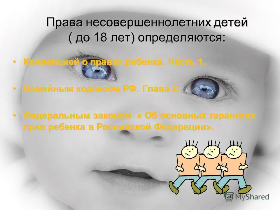 Права несовершеннолетних детей ( до 18 лет) определяются: Конвенцией о правах ребенка. Часть 1.Конвенцией о правах ребенка. Часть 1. Семейным кодексом РФ. Глава 2.Семейным кодексом РФ. Глава 2. Федеральным законом « Об основных гарантиях прав ребенка
