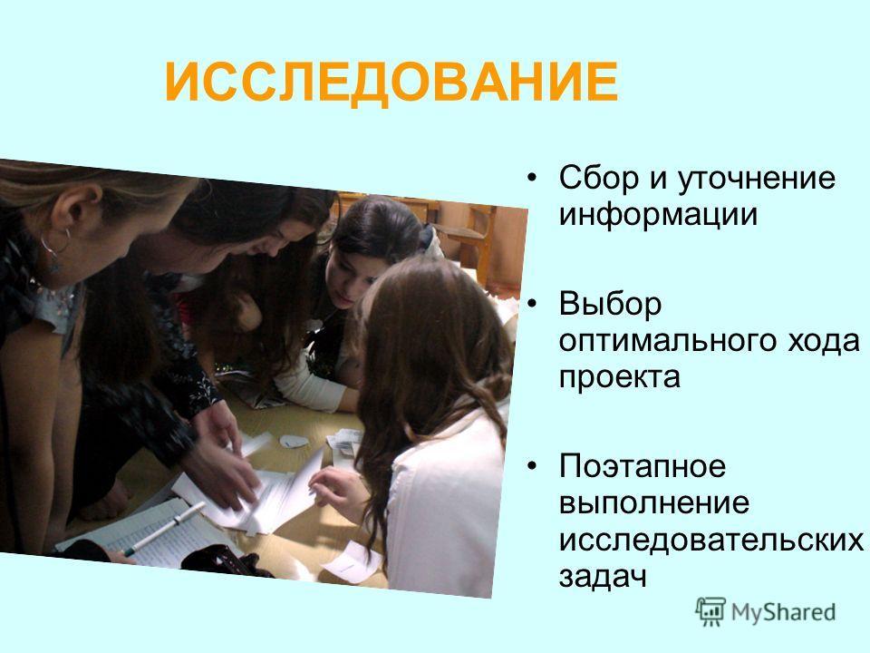 ИССЛЕДОВАНИЕ Сбор и уточнение информации Выбор оптимального хода проекта Поэтапное выполнение исследовательских задач